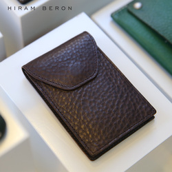 Hiram Beron Leather Business Card Holder Men Vegetable Tanned Leather ID Card Wallet Customized Name Genuine Leather Holder