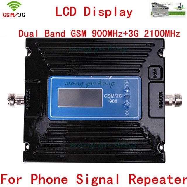 Lo nuevo de Doble Banda de Ajuste de Ganancia 29-60dBi 2G GSM 900 3G 2100 Teléfono celular Amplificador de Señal Amplificador GSM y UMTS 2100 MHZ 3G Repetidor