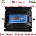 Mais novo Dual Band Ganho Ajustar 29-60dBi 2G GSM 900 3G 2100 UMTS 2100 MHZ Amplificador Booster de Sinal de Telefone celular GSM e 3G Repetidor