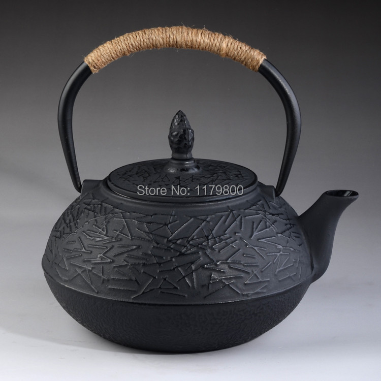 Japanese style cast iron kettle tetsubin teapot with strainer 0 9l 30oz water capacity black - Japanese teapot with strainer ...