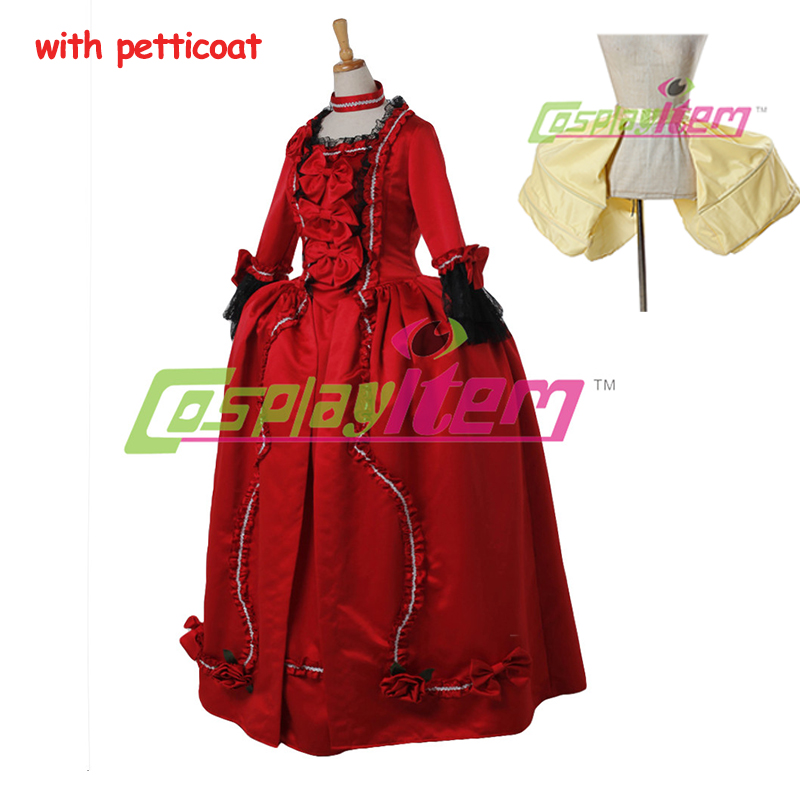 Red Rococo Baroque Cosplay Costume Gown Dress victorian dress Marie Antoinette Medieval Aristocrat Gothic - Cosplayitem COS store