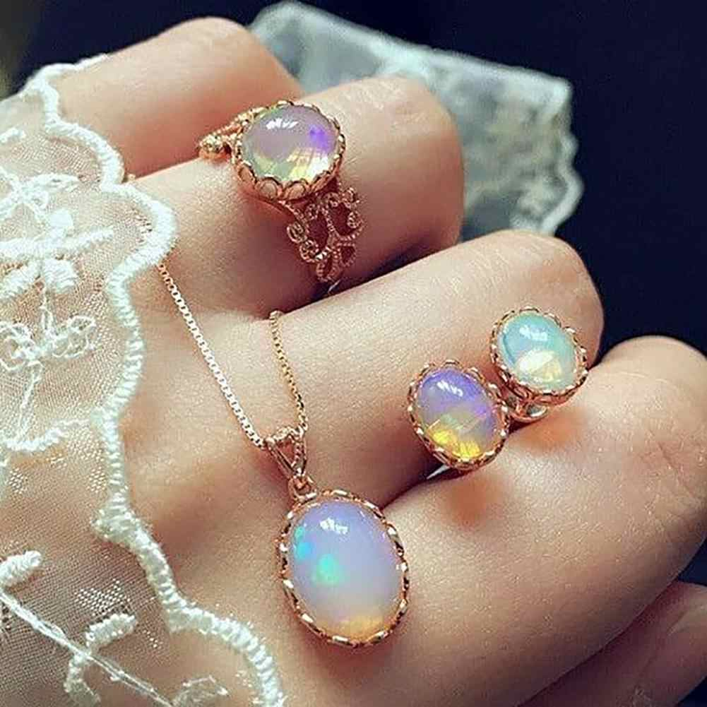 Hot Fashion Elegant Women Engagement Wedding Oval Faux Opal Necklace Ring Stud Earrings Set