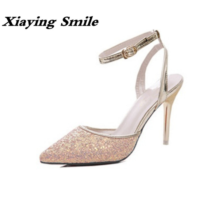 Xiaying Smile Woman Sandals Women Pumps Summer Thin Heel Closed Toe Buckle Strap Fashion Casual Sequined Cloth Sexy Women Shoes xiaying smile woman sandals shoes women pumps summer casual platform wedges heels sennit buckle strap rubber sole women shoes