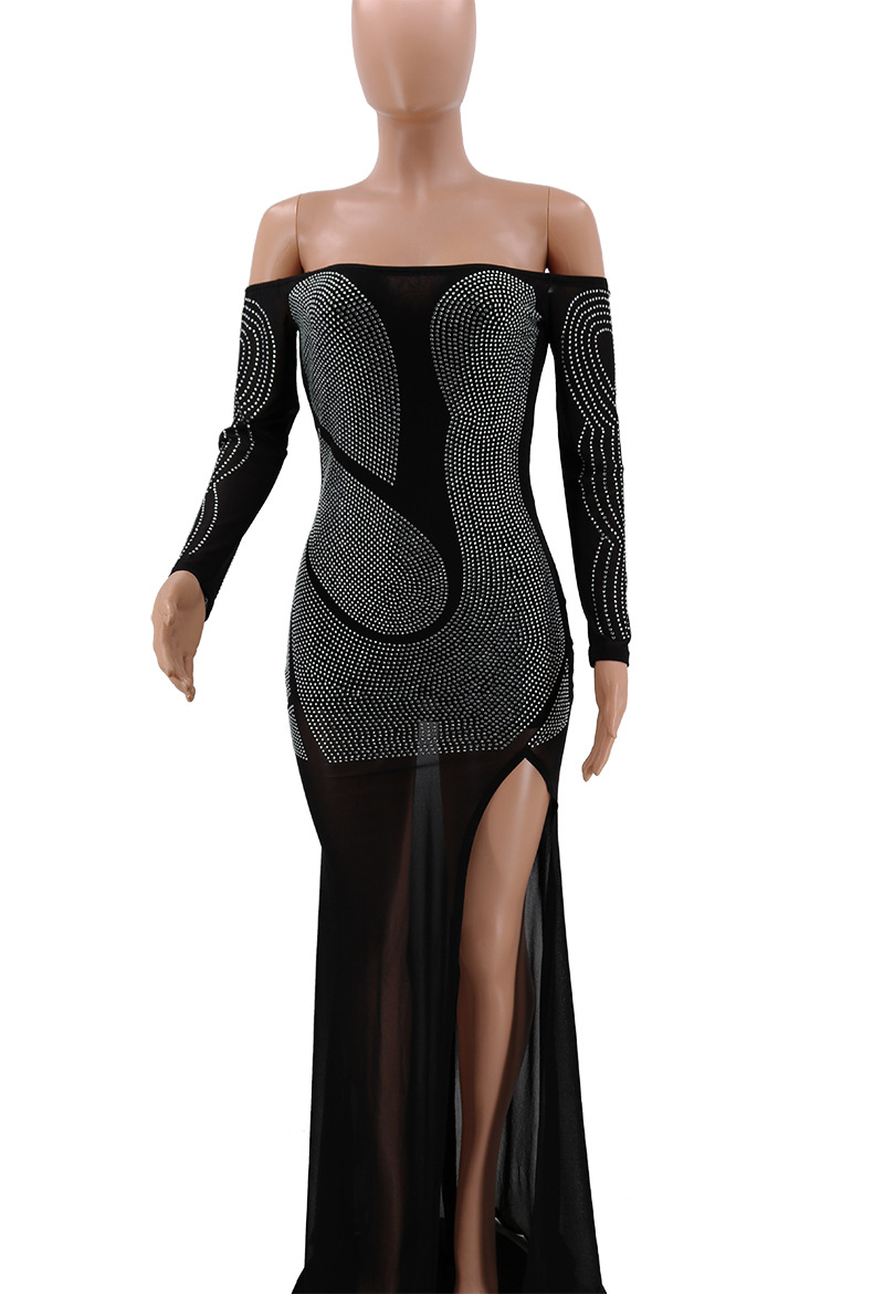 Sheer Mesh Sexy Maxi Dress Off Shoulder Diamonds Elegant Party Dress Long Femme Robe Bodycon Club Outfit High Split Vetidos in Dresses from Women 39 s Clothing