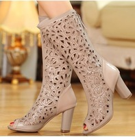 Full Grain Leather Women Knee High Boots Sexy Open Toe Fashion Sandals Boots Ladies Cut Outs