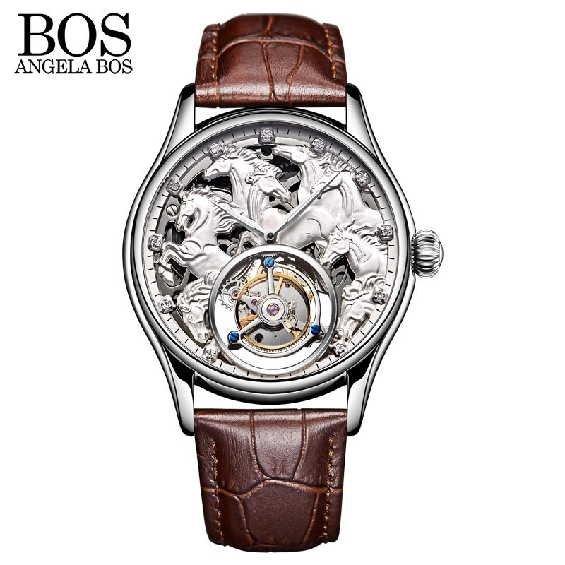 ANGELA BOS 3D Carving Horse Skeleton Tourbillon Mechanical Watches Men Luxury Watch Automatic Stainless Steel 24K Gold Plating