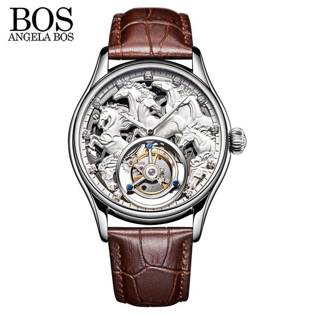 8fb70421a ANGELA BOS 3D Carving Horse Skeleton Tourbillon Mechanical Watches Men  Luxury Watch Automatic Stainless Steel 24K