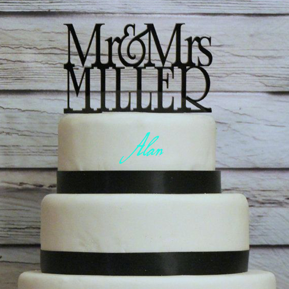 Free shipping 6-inch black Mr. and Mrs. Wedding Cake Wedding Cake Topper  personalized with Mr   Mrs 09df138c675dc