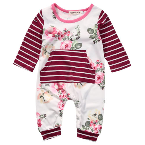 Pudcoco Cotton Newborn Kids Baby Girls Clothes Striped Floral Romper Jumpsuit Long Sleeve Playsuit Baby Clothes Outfits