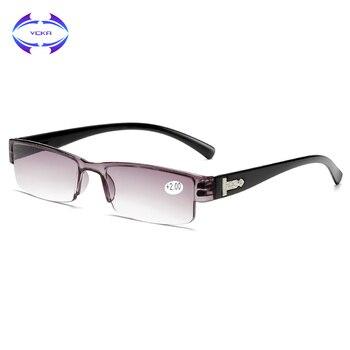 VCKA Square TR90 Reading Glasses Rimless Men Women Ultra-light Frameless  Spectacles1.5 2.0 2.5 3.0 3.5 4.0