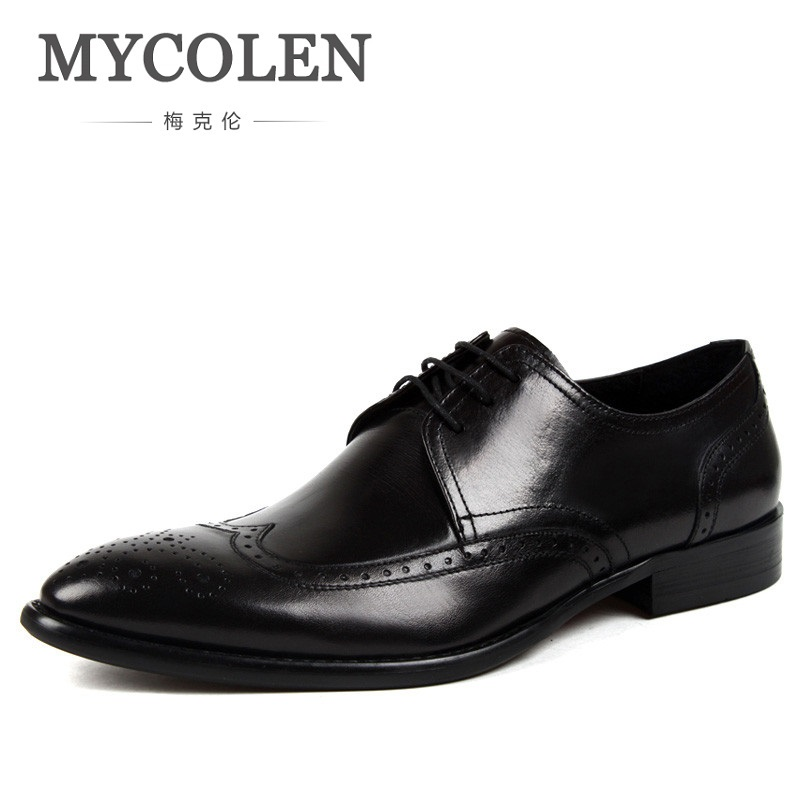 MYCOLEN Formal Shoes Business Work Dress Breathable Genuine Leather Men Shoes Party Shoes Classic Soft Flats New Popular handmade genuine leather men shoes men flats shoes business dress shoes men oxford formal shoes size 38 47