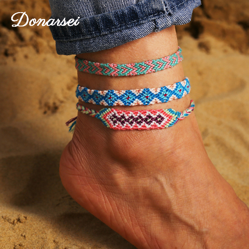 Donarsei Ethnic Handmade Colorful Weave Anklets For Women Summer Beach Wave Braided Ankle Bracelet Beach Foot Jewelry