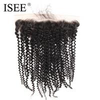 ISEE 13*4 Zwitserse Kant Frontale Sluiting Kinky Krullend Haarverlenging Remy Menselijk Haar Natuur Kleur Geverfd Worden