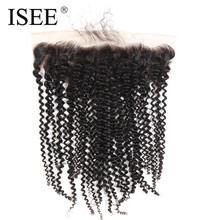 ISEE Hair Extension 13*4 Swiss Lace Frontal Kinky Curly Remy Human Hair No Shedding Can Be Dyed