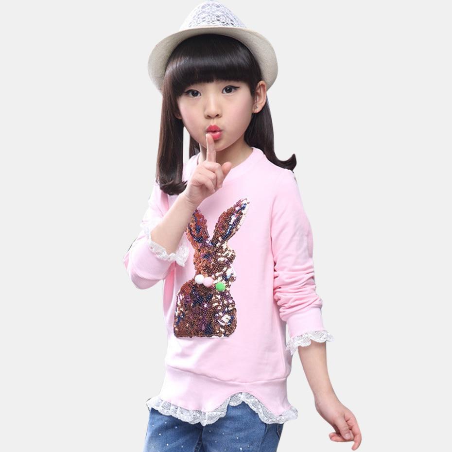 Erfinderisch Hoodie Mädchen Spitze Sweatshirts Für Mädchen Pailletten Kaninchen Mädchen Sweatshirt Casual Kinder Teenage Winter Kinder Kleidung 3-13 Jahre Pullover Sweatshirts