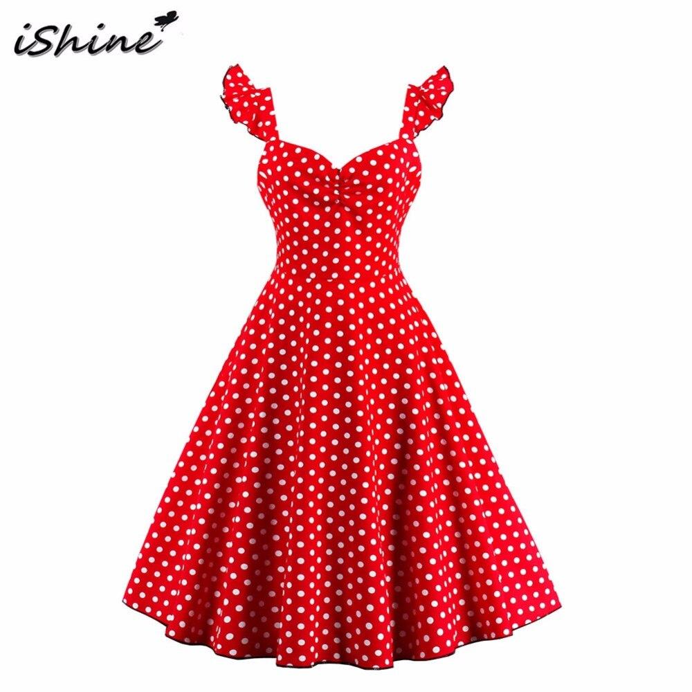 IShine 2017 Para Mujer Vestidos de fiesta de Verano 2017 Más El Tamaño 50 s 60 s