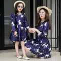 2017 New Mother Daughter Dresses Mother and Ddaughter Clothes Cartoon Printed Party Mother Daughter Dresses Clothes Family Look