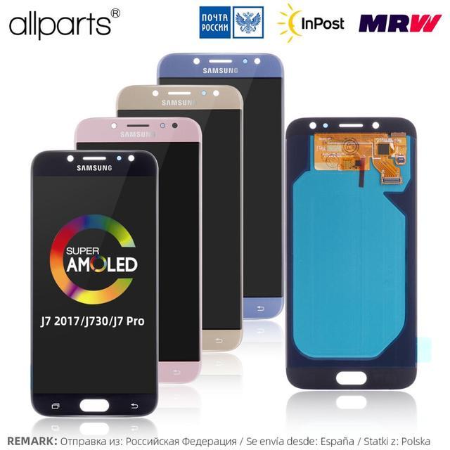 AMOLED LCD Para SAMSUNG Galaxy J7 2017 Pantalla J730 J730F Display Cristal Táctil digitalizador Asamblea Completa Negra Dorado