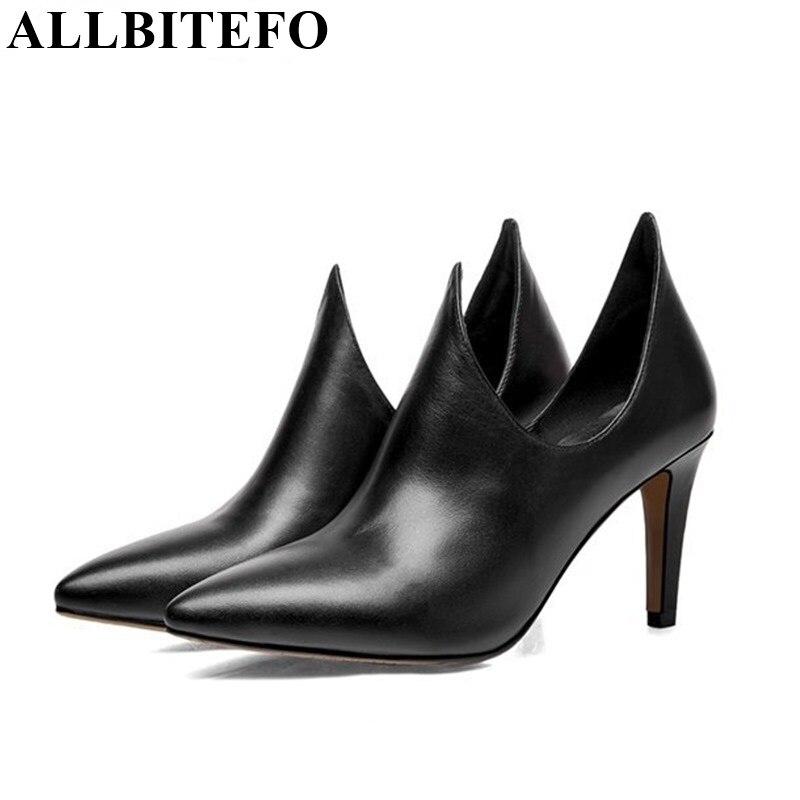 ФОТО ALLBITEFO size 33-41 Unique design genuine leather fashion women pumps 2015 new ladies party wedding shoes woman platform pumps