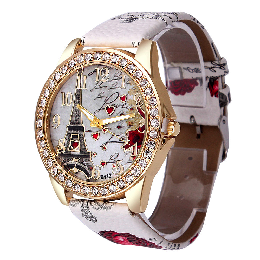 Best Deal Quartz horloge Damesmode Tower patroon Diamanten wijzerplaat Horloges Heren Kunstleer horloge Damesjurk klok Montre Relo