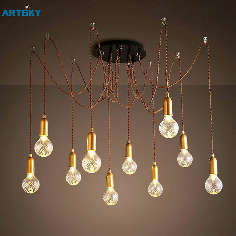 ФОТО 2016 Retro Vintage LED Multi-Head Pendant Light Lamp  Creative Personality Industrial Lamp American Style for Living Room