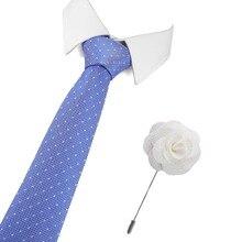 Britishe style 7.5cm Ties Slim Gravatas wine red Tie&pin Cotton Neckties For Men Wedding Business Striped & Plaid Bow Tie