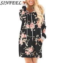 SINFEEL Autumn Fashion Womens Hoodies Long Sleeve Sweatshirt Dress Women Hooded Floral Print Ladies Pullover Kwaii Female Tops