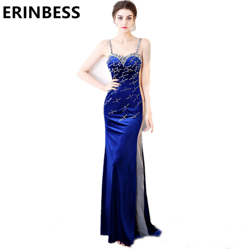 2019 Royal Blue   Evening     Dresses   Beaded Crystal Velvet Prom Gowns Sweetheart Spaghetti Strap Robe De Soiree Party   Dress
