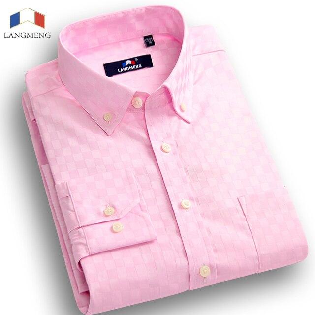Langmeng 2015 Новых Прибыть Мужская С Длинным Рукавами Сорочка Homme Случайный рубашки Мужчин Сплошной Цвет Мода Slim Fit Рубашка Camisa Hombre