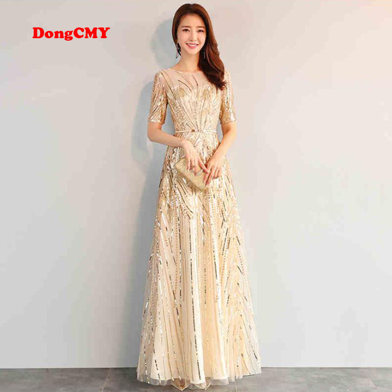 DongCMY Long Formal Sequin Evening Dresses 2020 Gold Color Zipper Fashion Women Party Performance Dress