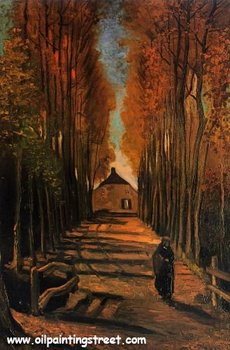 Free DHL Shipping, 100% handmade, Linen Canvas Oil Painting reproduction,Avenue of Poplars in Autumn by vincent van gogh
