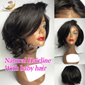 Natural Wavy Short Bob Wigs Virgin Brazilian Full Lace Wigs With Bangs Glueless Short Human Hair Lace Front Wigs Black Women