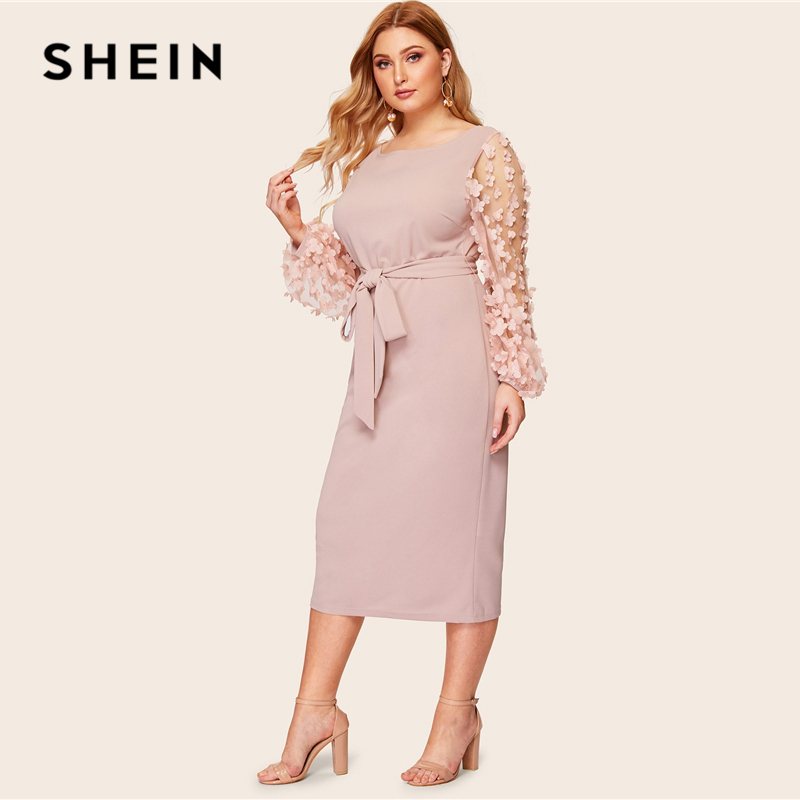 SHEIN Plus Size 3D Appliques Mesh Sleeve Belted Pencil Dres 2019 Women Romantic Elegant Bishop Sleeve High Waist Dresses 2