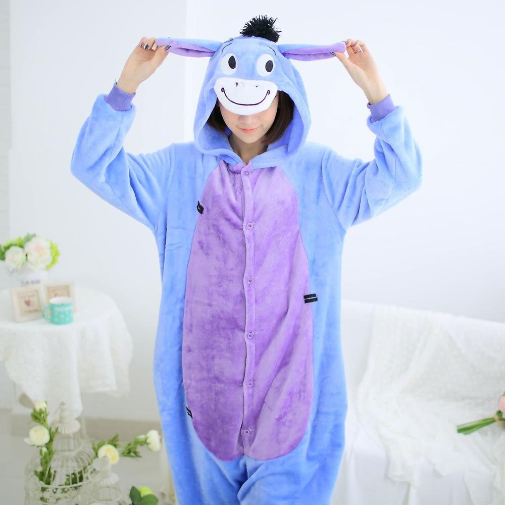 donkey pajamas flannel pajama unicorn cow animal cartoon sleepwear long sleeve winter autumn women men girls boys adults blue