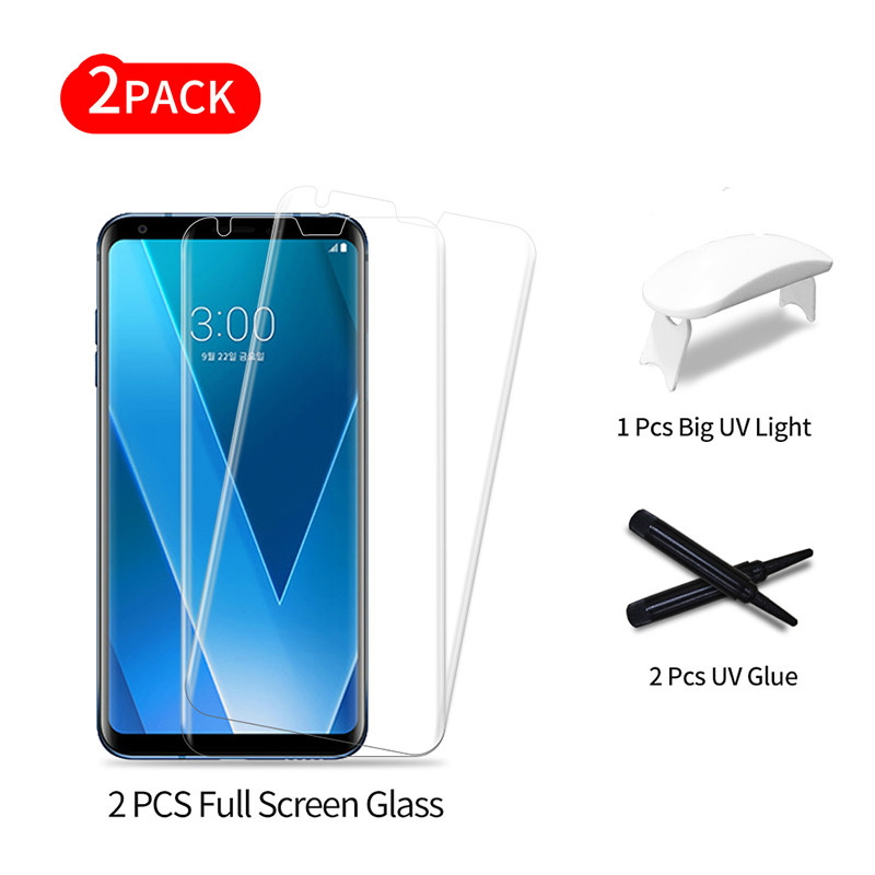Película de vidrio templado de pegamento completo para LG V30 cobertura de pantalla completa 3D UV luz Líquido Protector de pantalla película para V30 Plus 3D película de vidrio