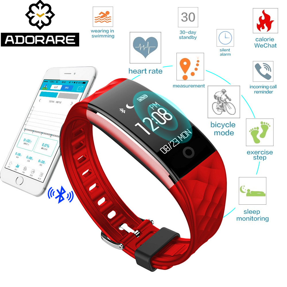 ADORARE S2 Smart Watch Women Men Bluetooth Wristband Heart Rate Monitor Fitness Bracelet Tracker For IOS Android PK mi band 2 new fashion smart watch dial call 16g card heart rate monitor wristband for ios android bluetooth smart band women men bracelet