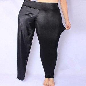 Image 2 - FSDKFAA 2018 женские леггинсы с завышенной талией из искусственной кожи, черные женские атласные штаны со змеиным принтом