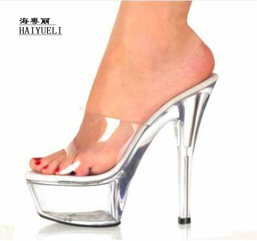 9a8c54d7419 15CM Super High Heels Thin Transparent Glass Slippers Platform Shoes  Princess Wedding Sandals Woman Shoes