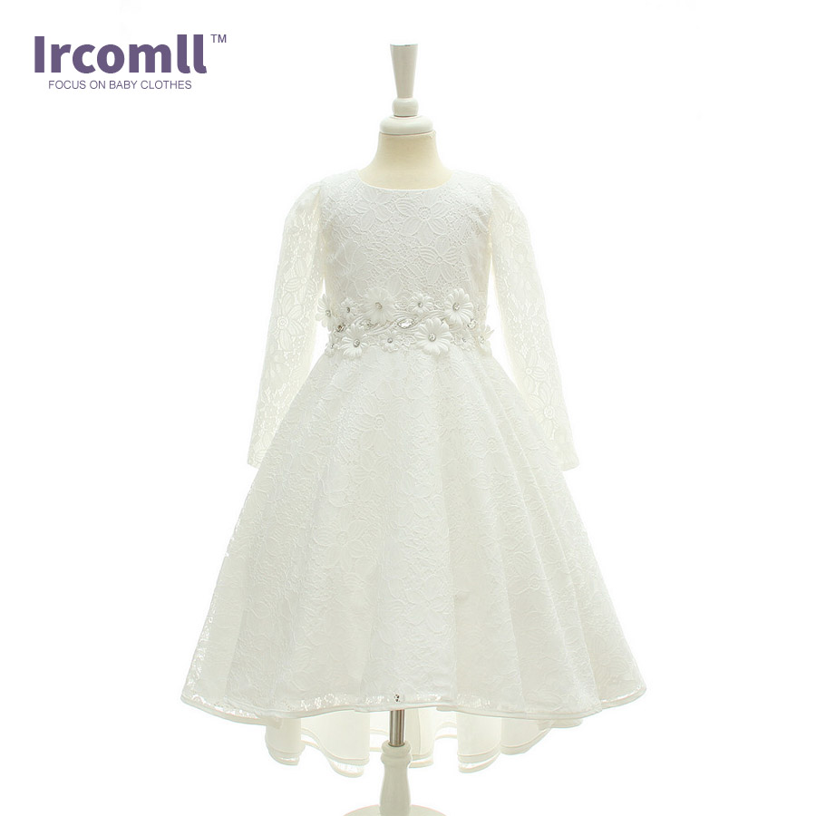 Ircomll New Elegance Girl Party Dress 2018 Floor-Length Girls Floral Long Sleeve Dresses For Wedding and Party kids clothing long sleeve printed floor length plus size dress