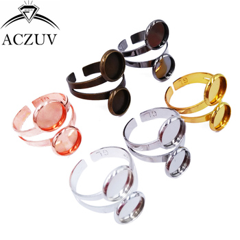 100pcs Mixed Colors 10mm 12mm Double Bezel Blank Adjustable Ring Blanks Base Copper Metal Cabochon Rings Settings TJZT021