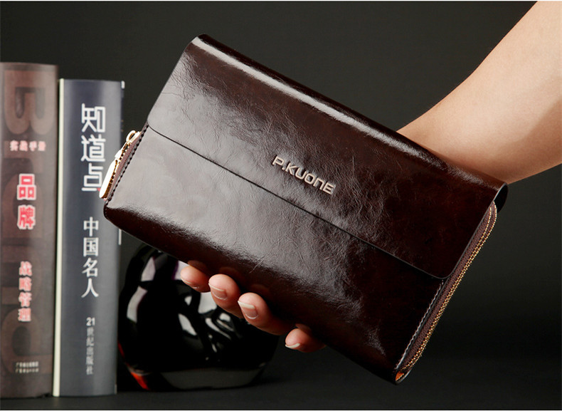 P.KUONE Luxury Shining Oil Wax Cowhide Men Clutch Bag Long Genuine Leather handbags men wallet Double Layer Business Clutch bags new oil wax leather men s wallet long retro business cowhide wallet zipper hand bag 2016 high quality purse clutch bag page 8