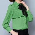 Women Office Chiffon Blouse 2017 Bow Tie Fold Shirt Feminino Long Sleeve Ladies Work Wear Tops White Green Women Chiffon Blouse