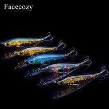 Facecozy 어업은 빛난 minnow 인공적인 미끼를 유혹한다 1 pc 6.5/8/9 cm 다색 투명한 swimbait trolling