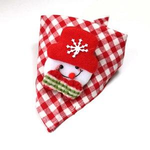 Image 4 - 30pcs 크리스마스 애완 동물 용품 수제 코튼 조절 개 고양이 bandanas 스카프 bowties 산타 클로스 눈사람 애완 동물 개 액세서리