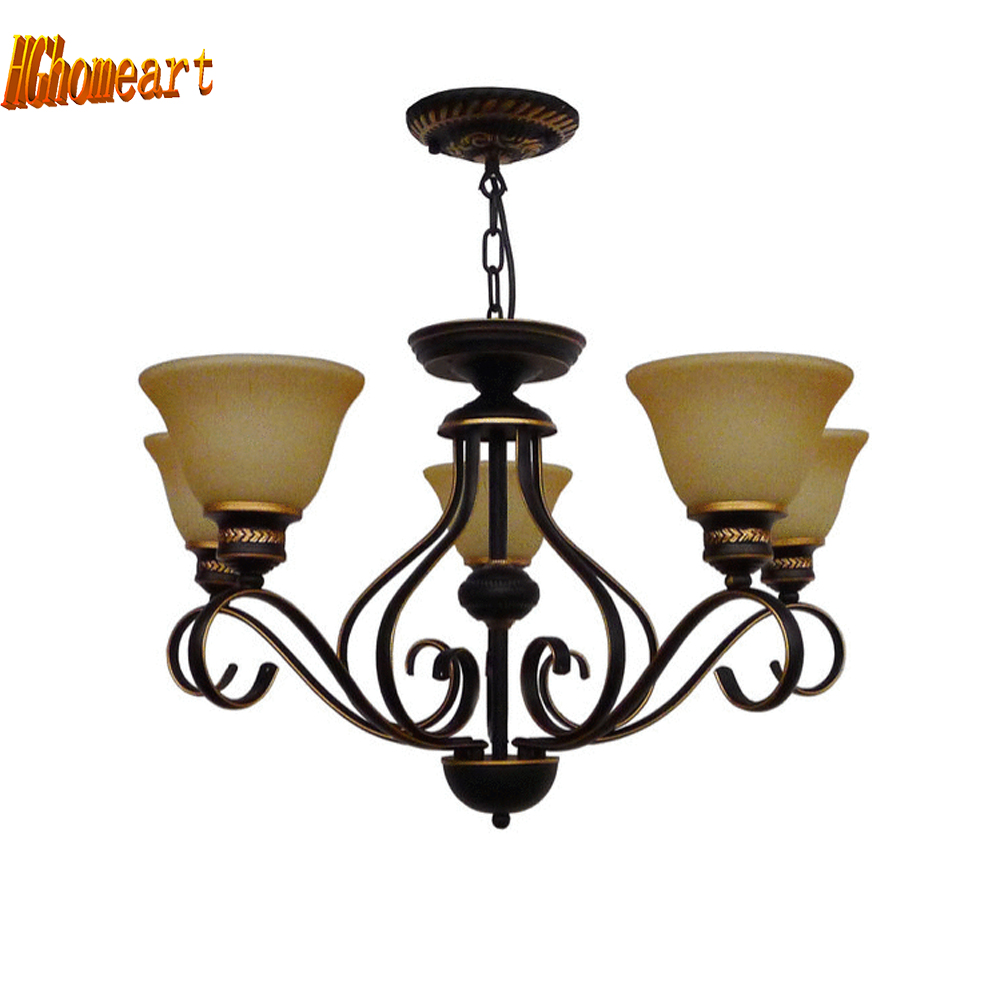 Hghomeart European Restaurant Chandelier Lamp Villa Iron Ceiling Lights Living Room Antique Chandelier Lamps Bedroom Light 220V