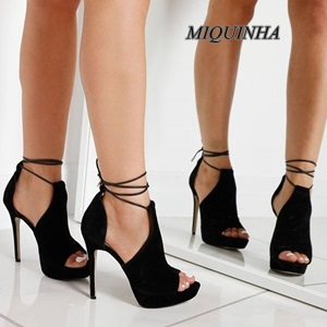 ФОТО elegant black suede leather women sandals thin high heel peep toe platform ankle cross strappy shoes cover heel party footwear