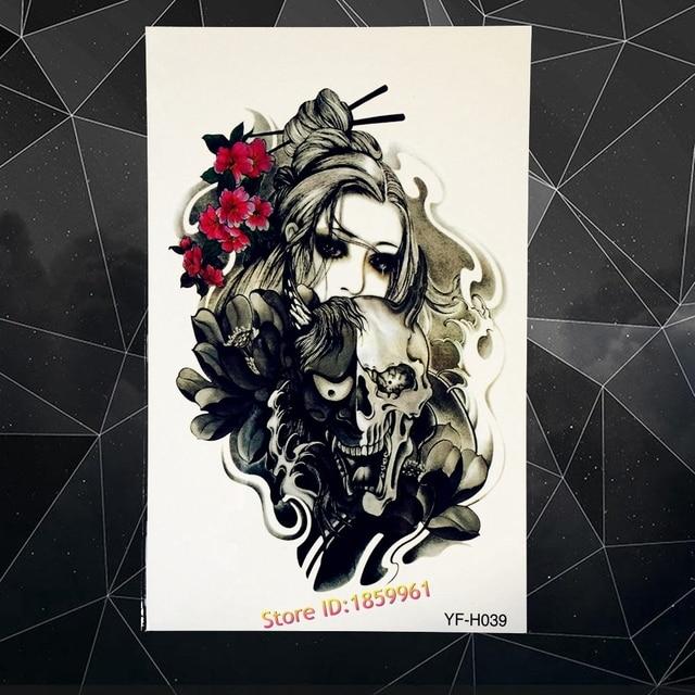 Sexy Arm Sleeve Flash Temporary Tattoo Japanese Geisha Ghost Monster Skull Design Waterproof Tattoo Sticker Harajuku AYF-H39