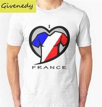 I LOVE FRANCE Printed Men's Men T Shirt T shirt Fashion 2016 New design O Neck Cotton T-shirt Tee free shipping