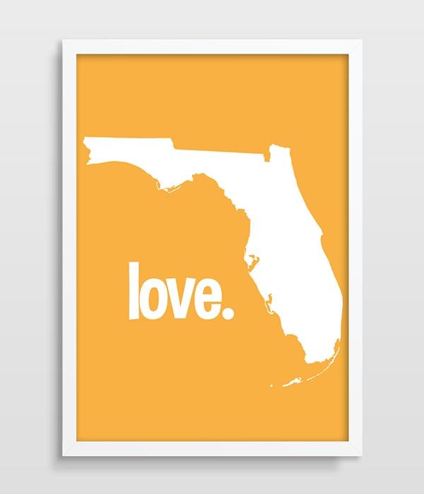 US $9.6 50% OFF|Florida State Map Print FL Typografie Map wall art UNS  Staaten Poster Karte Drucken FL Zustand Druck Einzugsgeschenk Sonnenschein  ...
