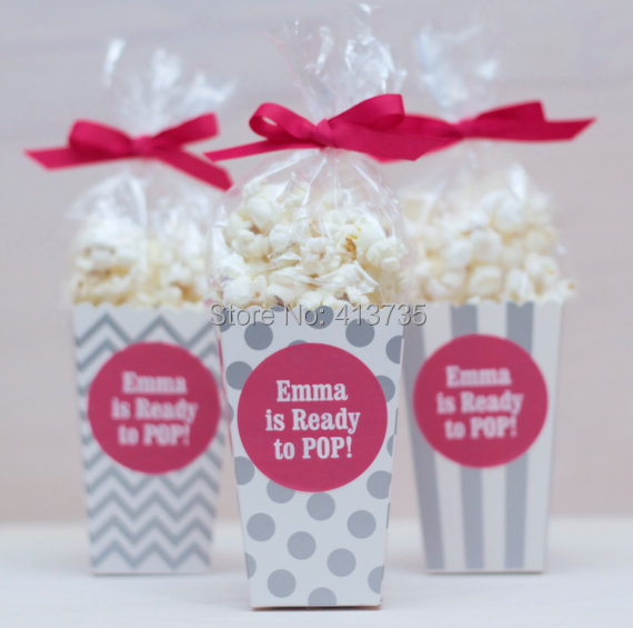 6 Silver Popcorn Box Favors Baby Shower Favors Ready To